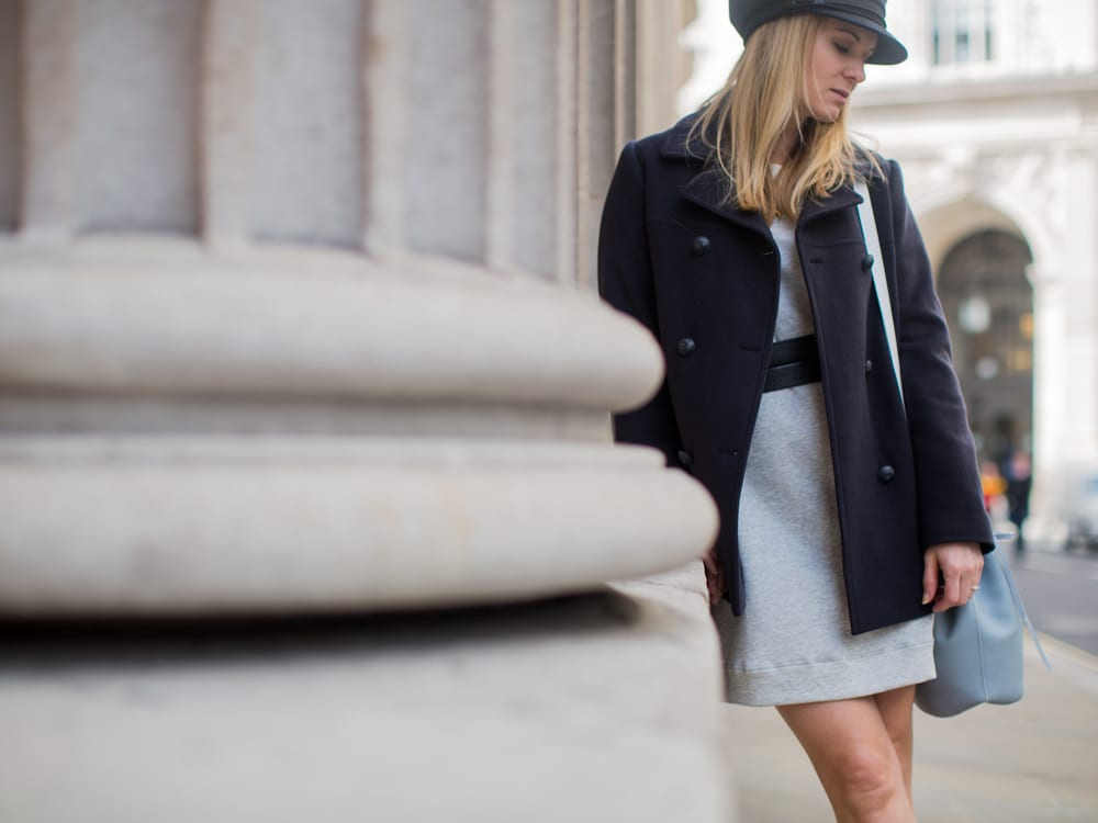 Style&Minimalism | It's Personal | Armor Lux Pea Coat, Bon Label Sweater Dress, Common Projects & Baia Bucket Bag
