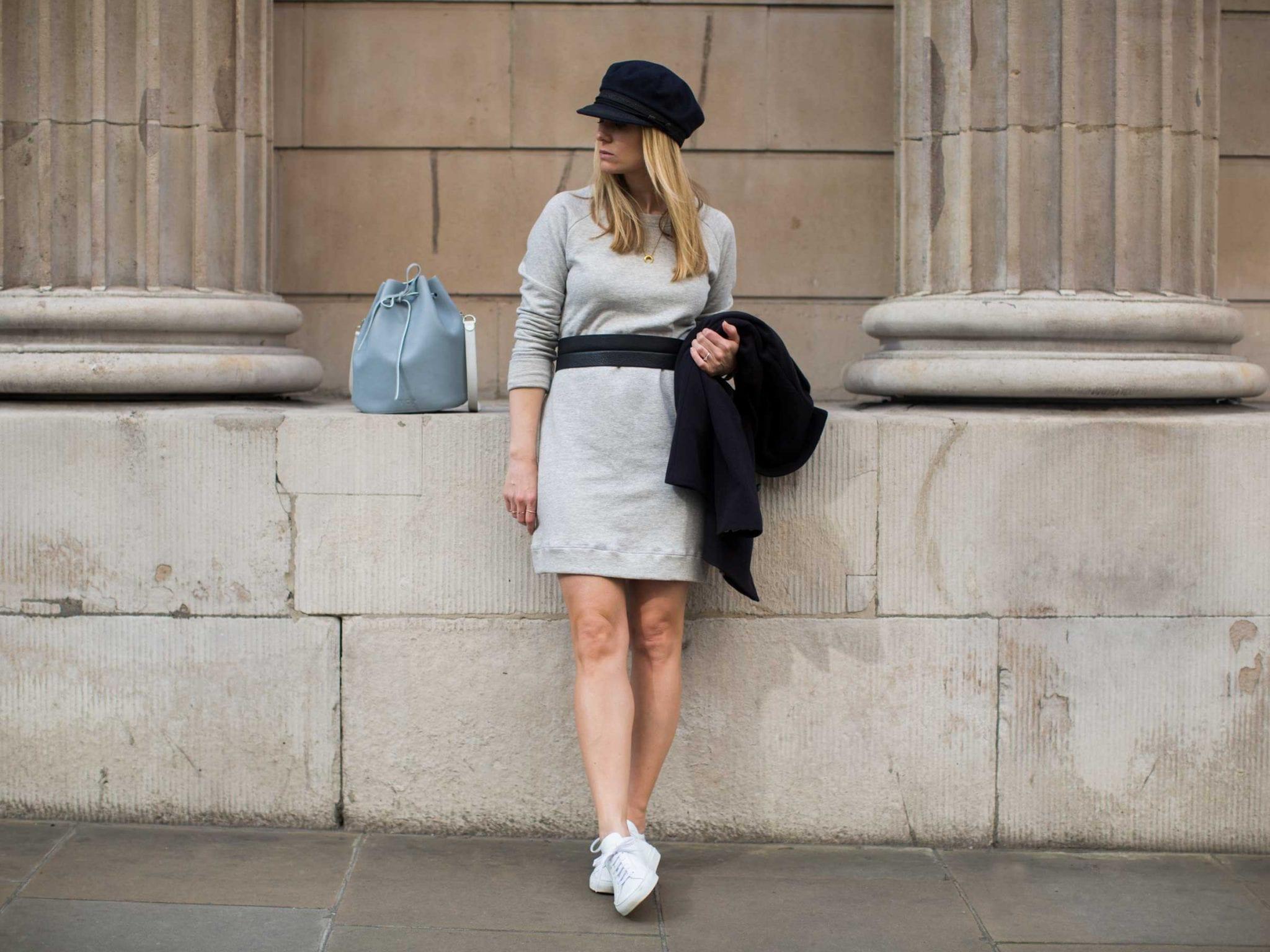 Style&Minimalism | It's Personal | Armor Lux Pea Coat, Bon Label Grey Sweatshirt Dress, Common Projects & Baia Bucket Bag