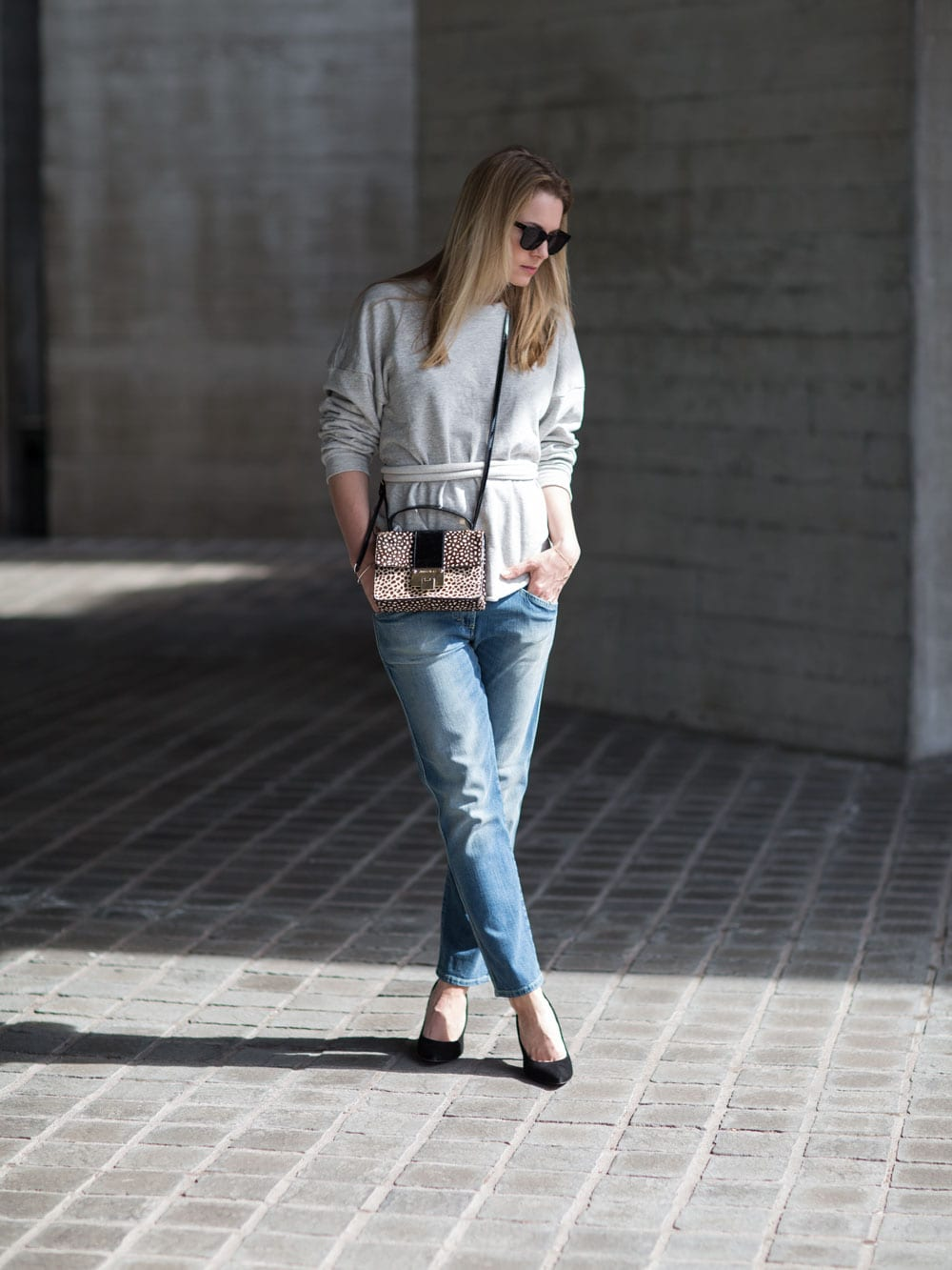Style&Minimalism | It's Personal | Wearing Bon Label Tie Sweater, Closed Pedal Jeans, Whistles Pumps & Jimmy Choo Rebel Bag