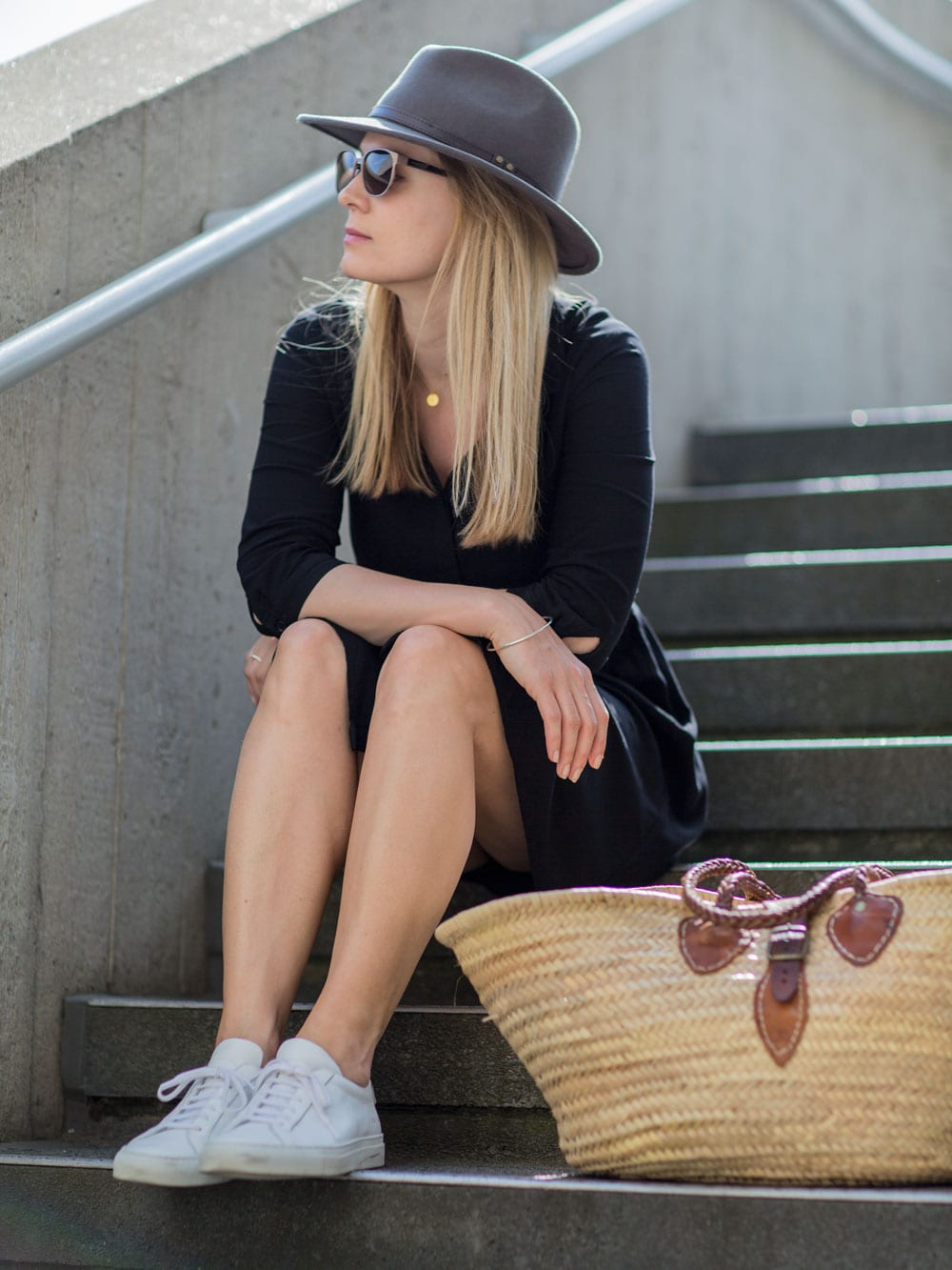 Style&Minimalism | It's Personal | Hush Little Black Dress, Common Projects, Straw Basket Bag