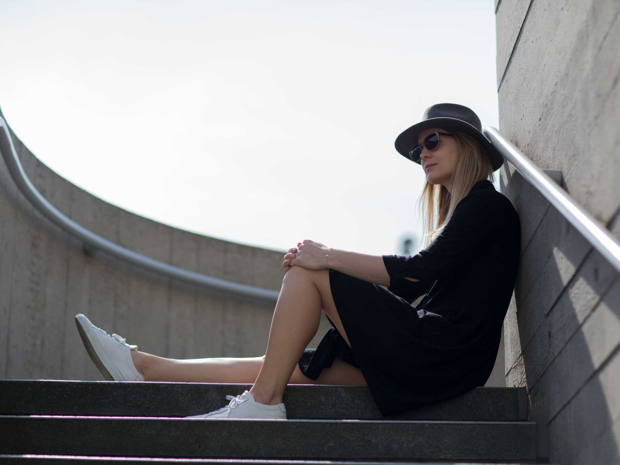 Style&Minimalism | It's Personal | Hush Black Dress, Common Projects, Straw Basket Bag
