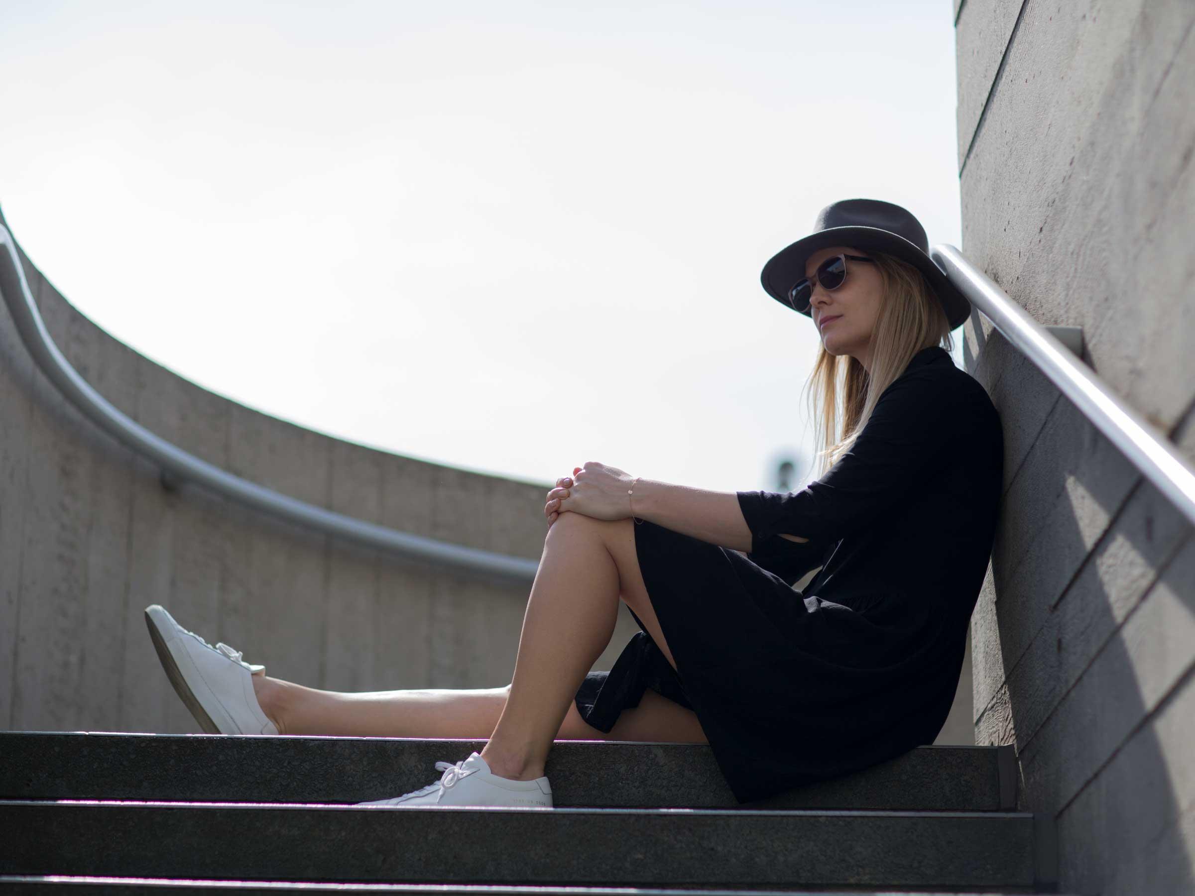 Style&Minimalism | It's Personal | Hush Black Dress, Common Projects, Straw Basket Bag