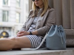 Style&Minimalism | It's Personal | Breton Stripes & Leather Bomber | Wearing UNIQLO Stripe Dress, ME+EM Leather Bomber, Baia Bucket Bag & Diemme Slip-ons