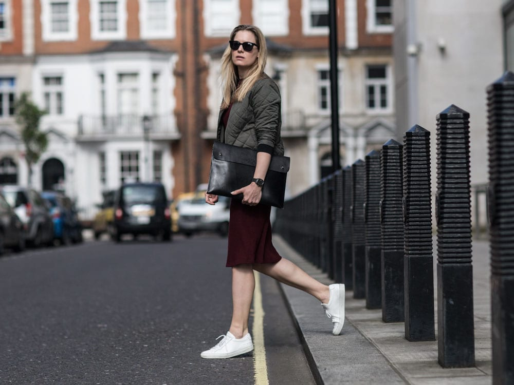 Style&Minimalism | It's Personal | Wearing Sideparty Dress, Khaki Bomber Jacket, Common Project Trainers, O My Bag Laptop Sleeve
