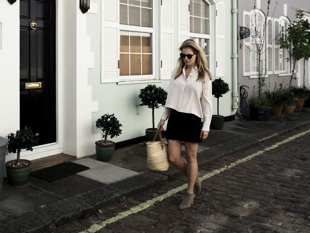 Connaught Village | Wearing ME+EM Silk Blouse, Topshop Black Denim Skirt & Straw Bag