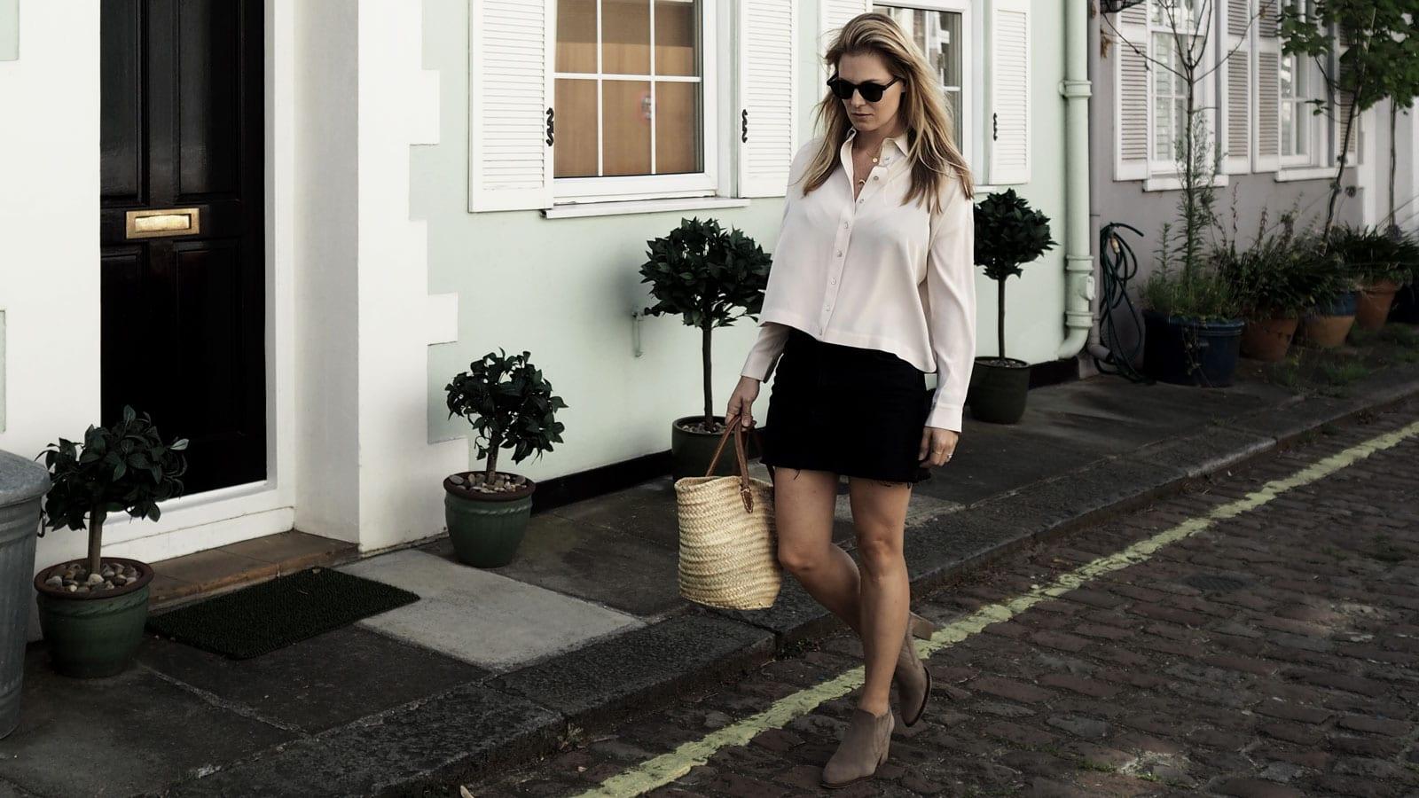 Style&Minimalism | It's Personal | Wearing ME+EM Silk Blouse, Topshop Black Denim Skirt & Straw Bag