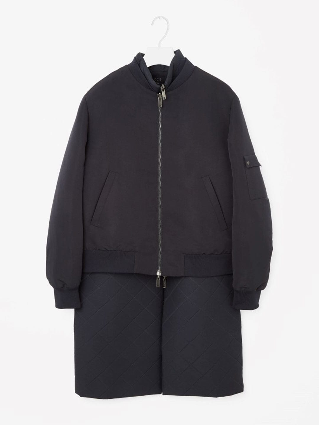 Best Winter Coats | COS Layered Bomber Coat in Navy Blue