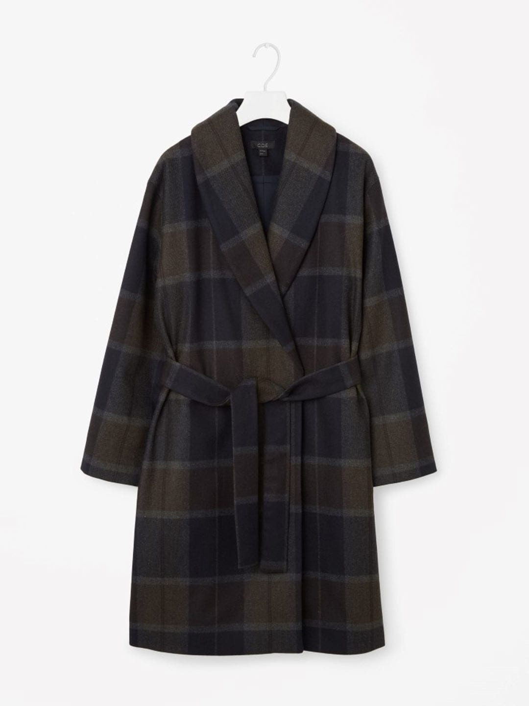 Best Winter Coats | COS Shawl Collared Coat in Check