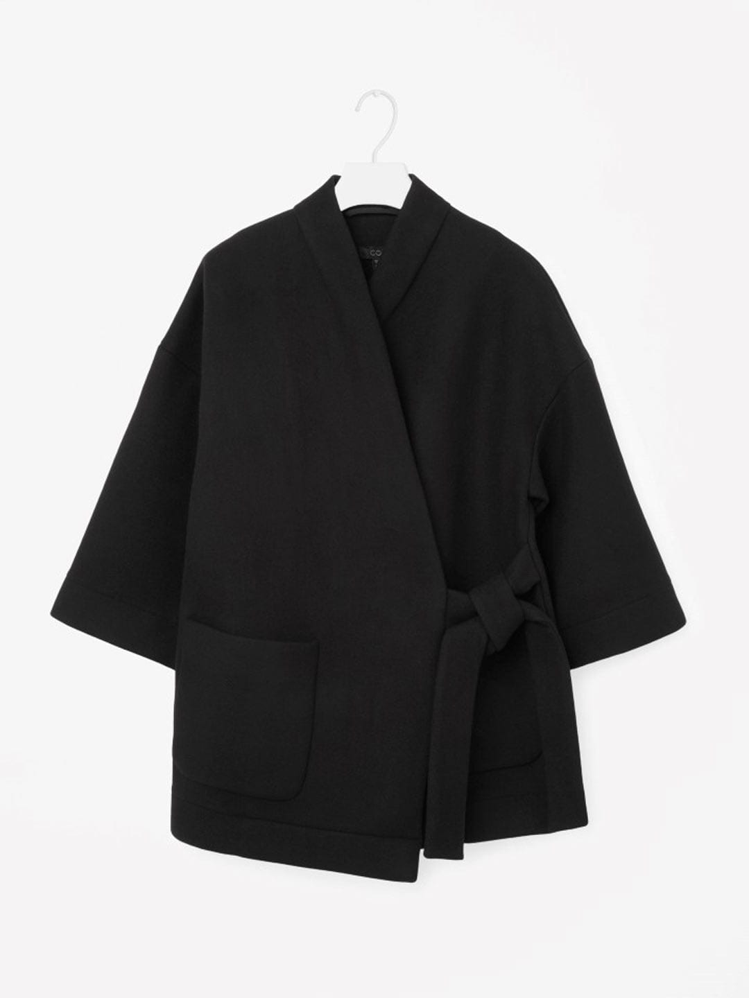Best Winter Coats | COS Wrap-Over Coat in Black