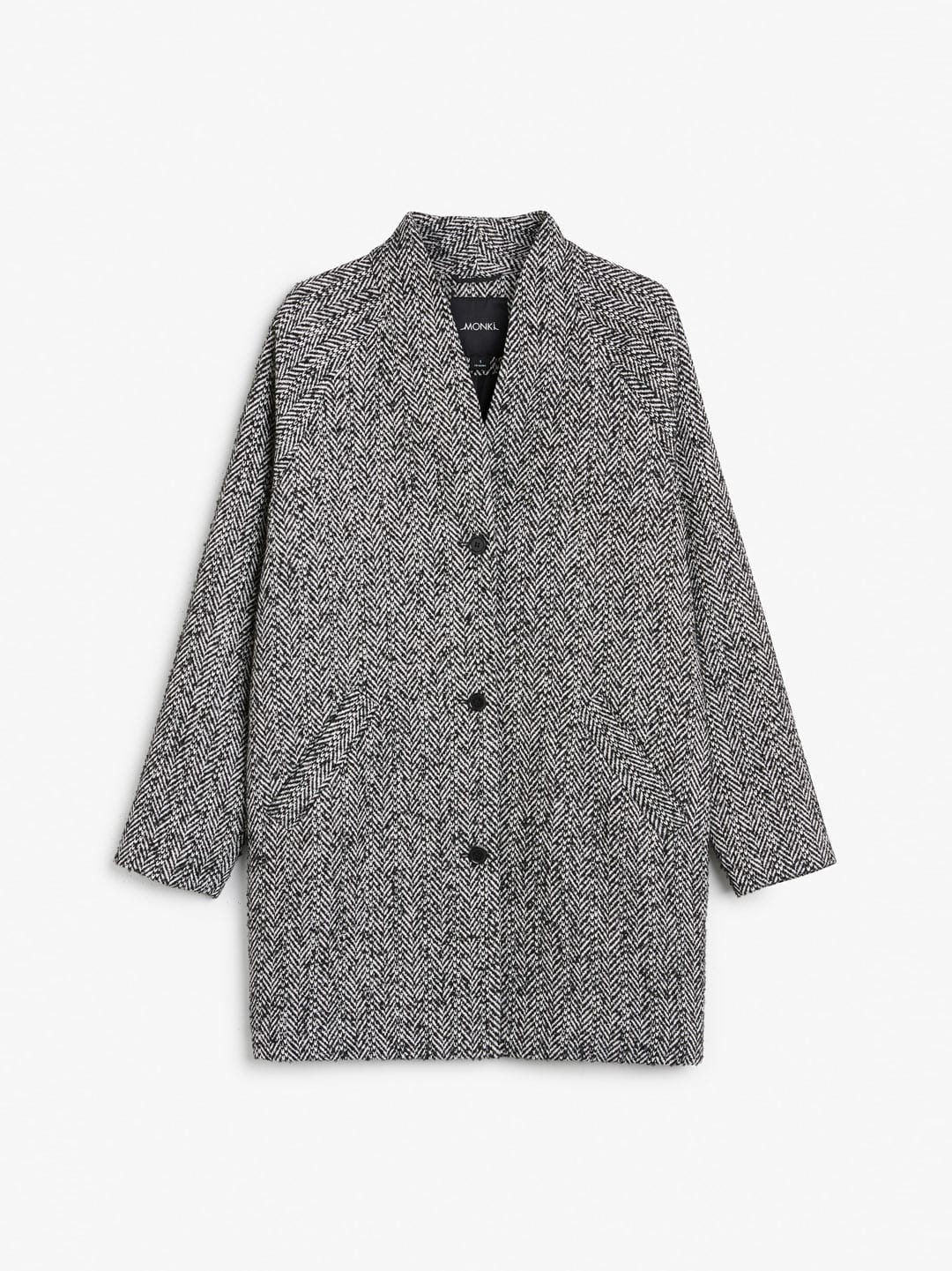 Best Winter Coats | Monki Shawl-Neck Herringbone Coat