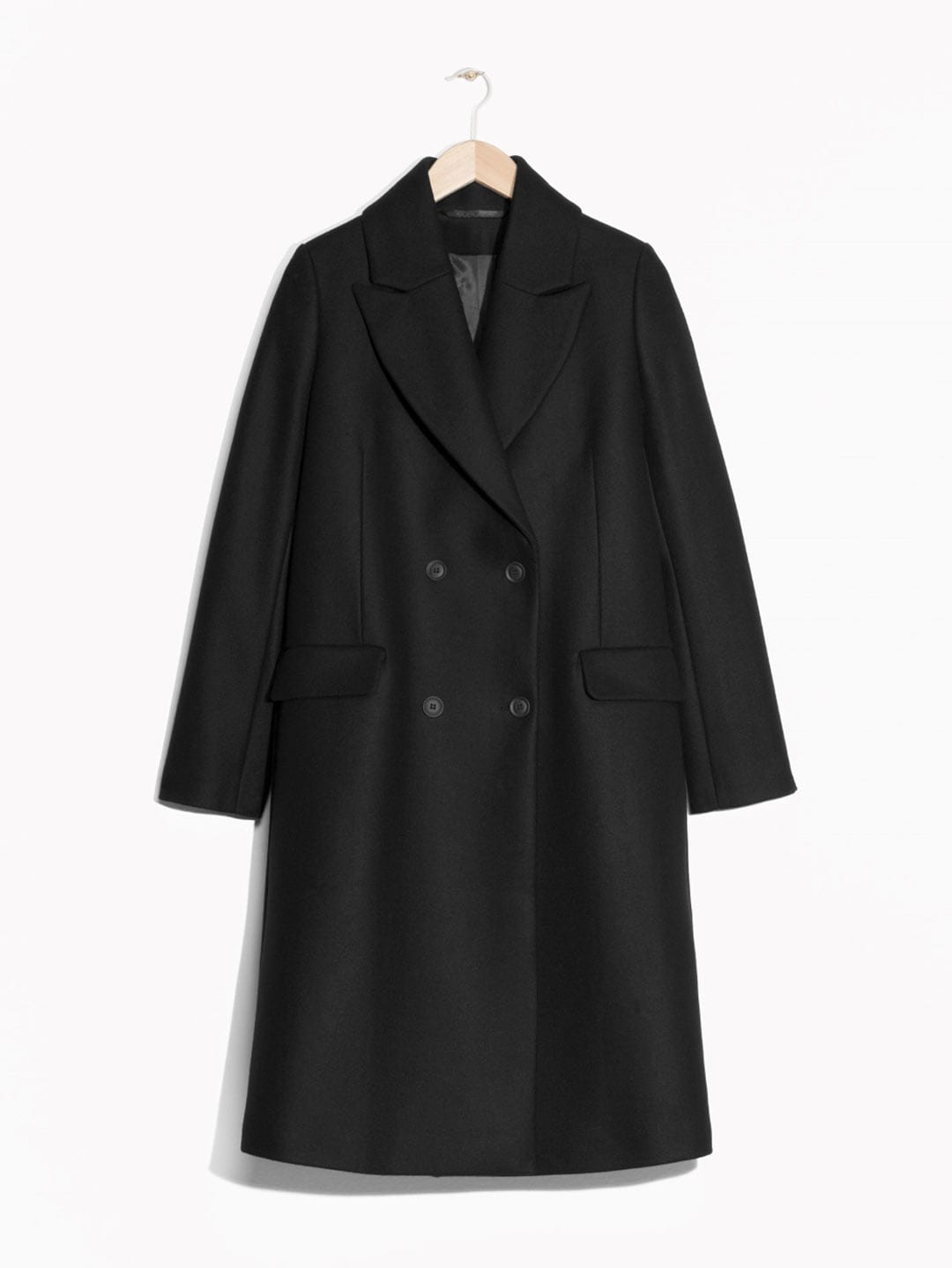 Best Winter Coats | & Other Stories Double-Breasted Wool Coat in Black