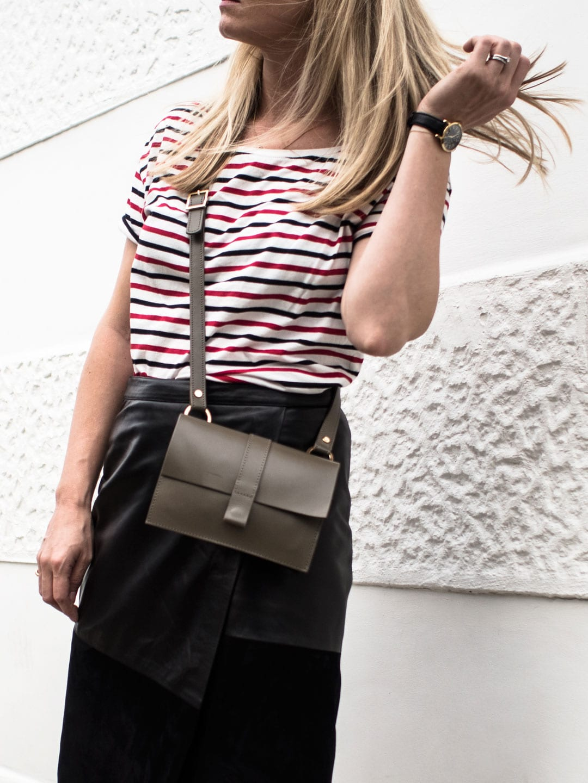 Autumn Transitional Essentials | Maison Scotch Stripe T-shirt, ME+EM Black Leather & Suede Skirt, Converse Chuck ii