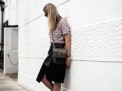 Maison Scotch Stripe T-shirt, ME+EM Black Leather & Suede Skirt, Converse Chuck ii