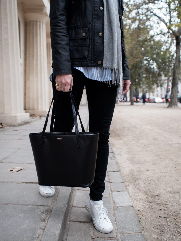 Vintage Shops London Belstaff Wax Jacket, Radley De Beauvoir Black Tote Bag, Baukjen Blue Stripe Shirt