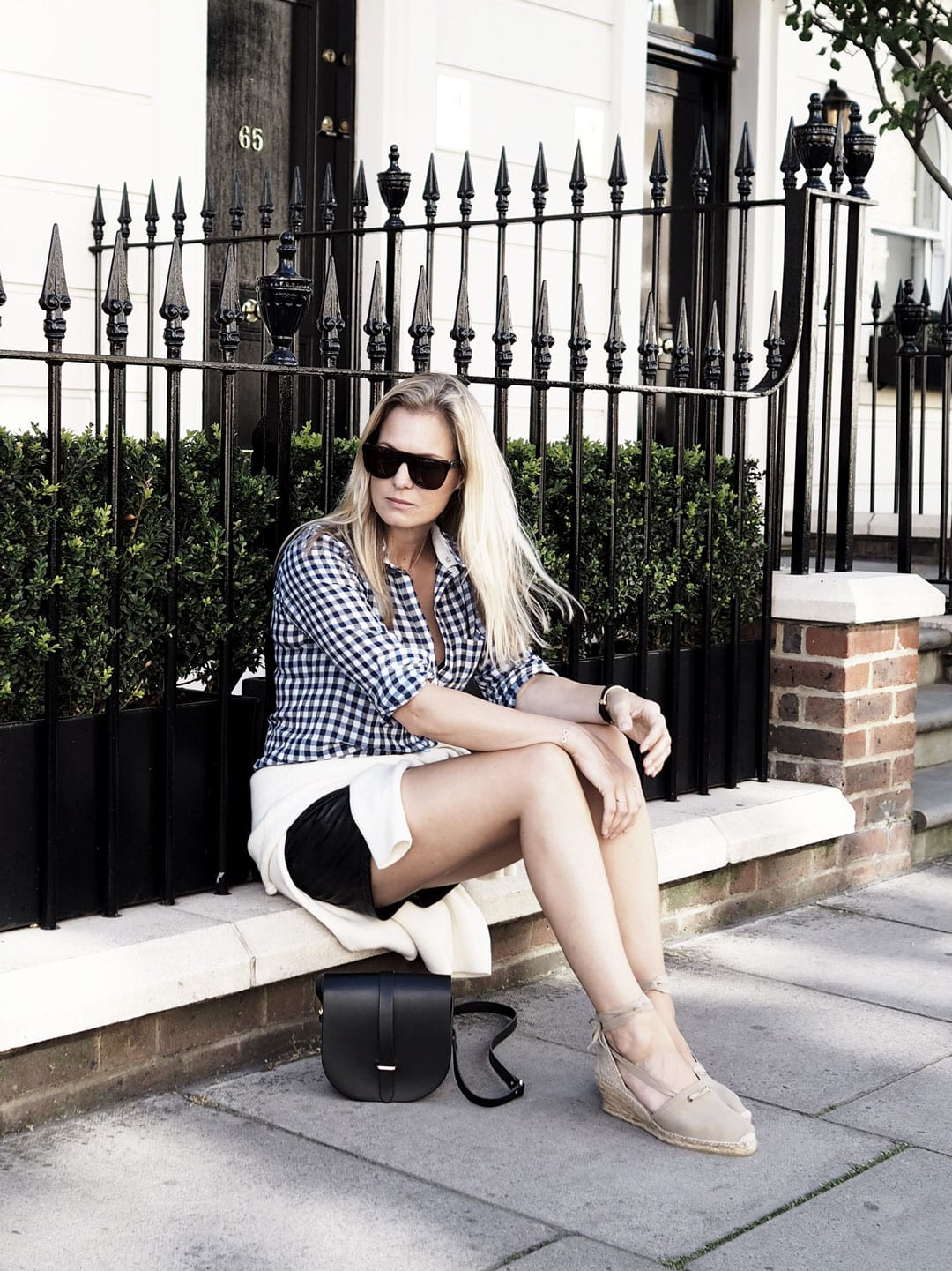 Time Keeping | Custommade Gingham Shirt, Pepe Leather Skirt, Penelope Chilvers Espadrilles
