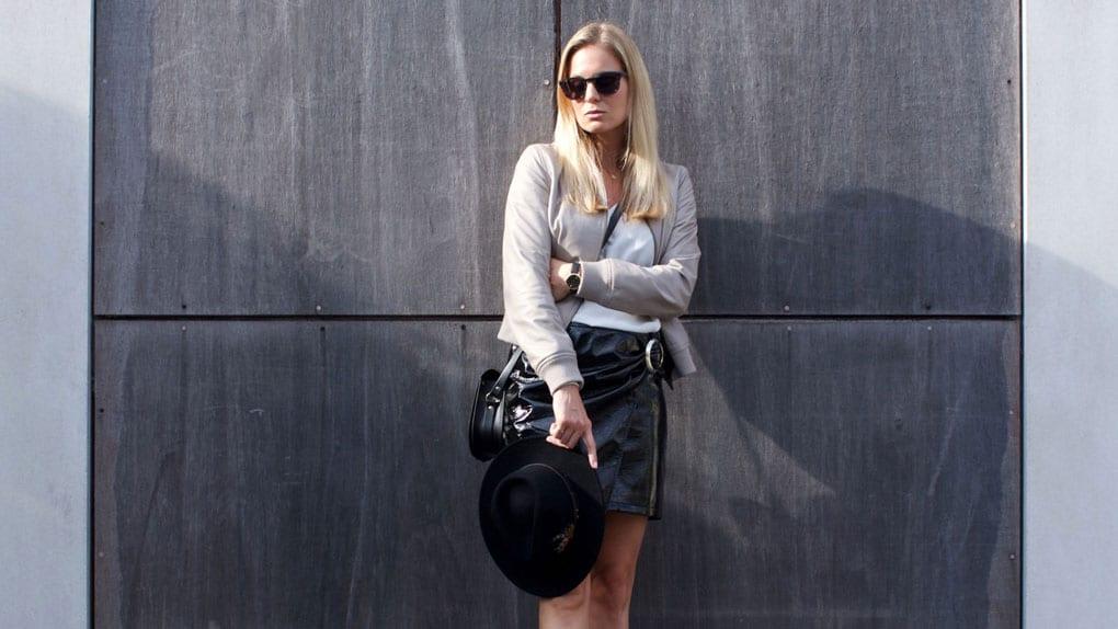 ME+EM Leather Bomber, Mango Patent Wrap Skirt, Charli London Silk Top