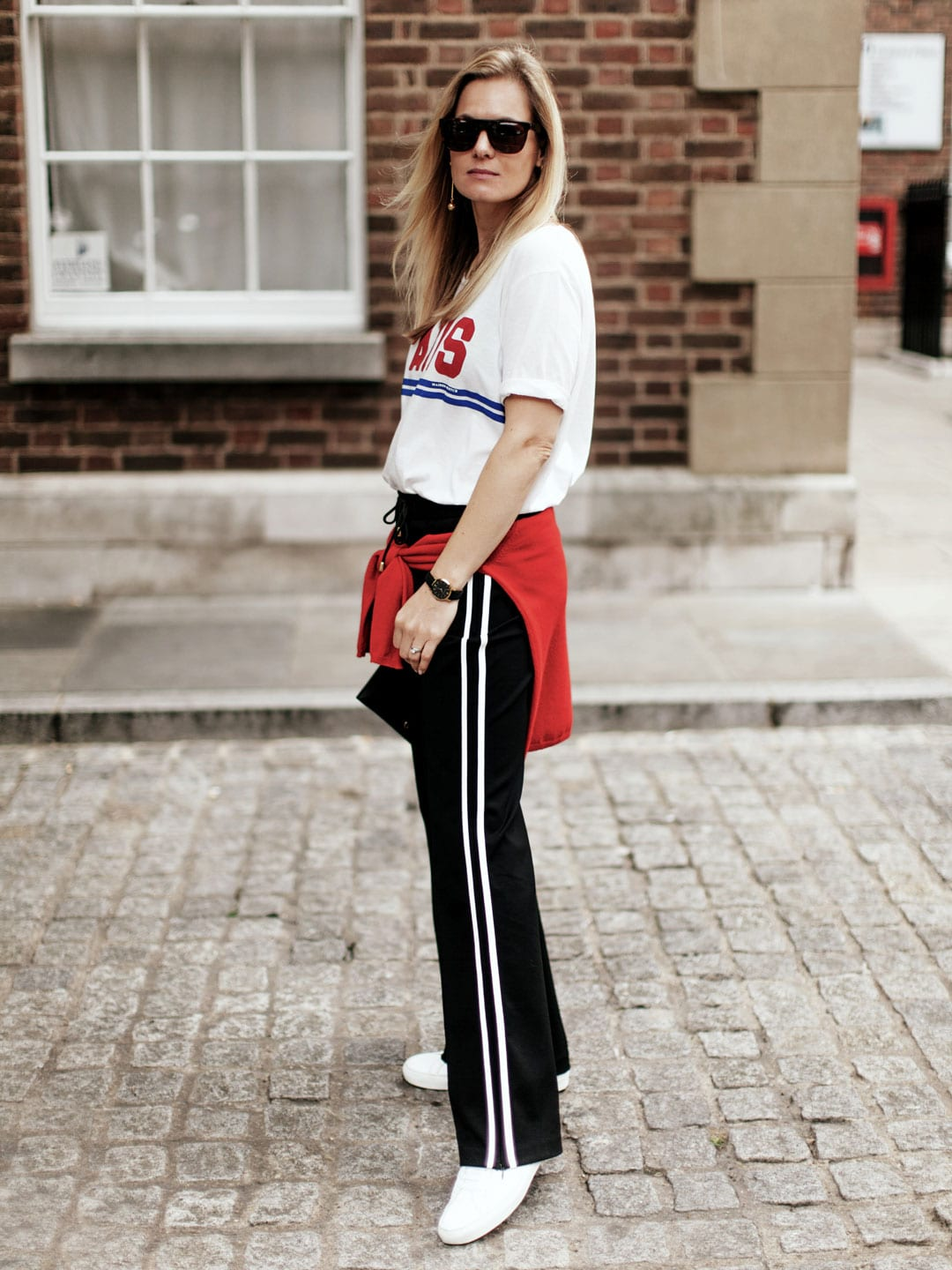 ME+EM Stripe Tailored Track Pant, Maison Scotch Paris T-shirt, Chinti & Parker Good Girl Bad Girl Sweater