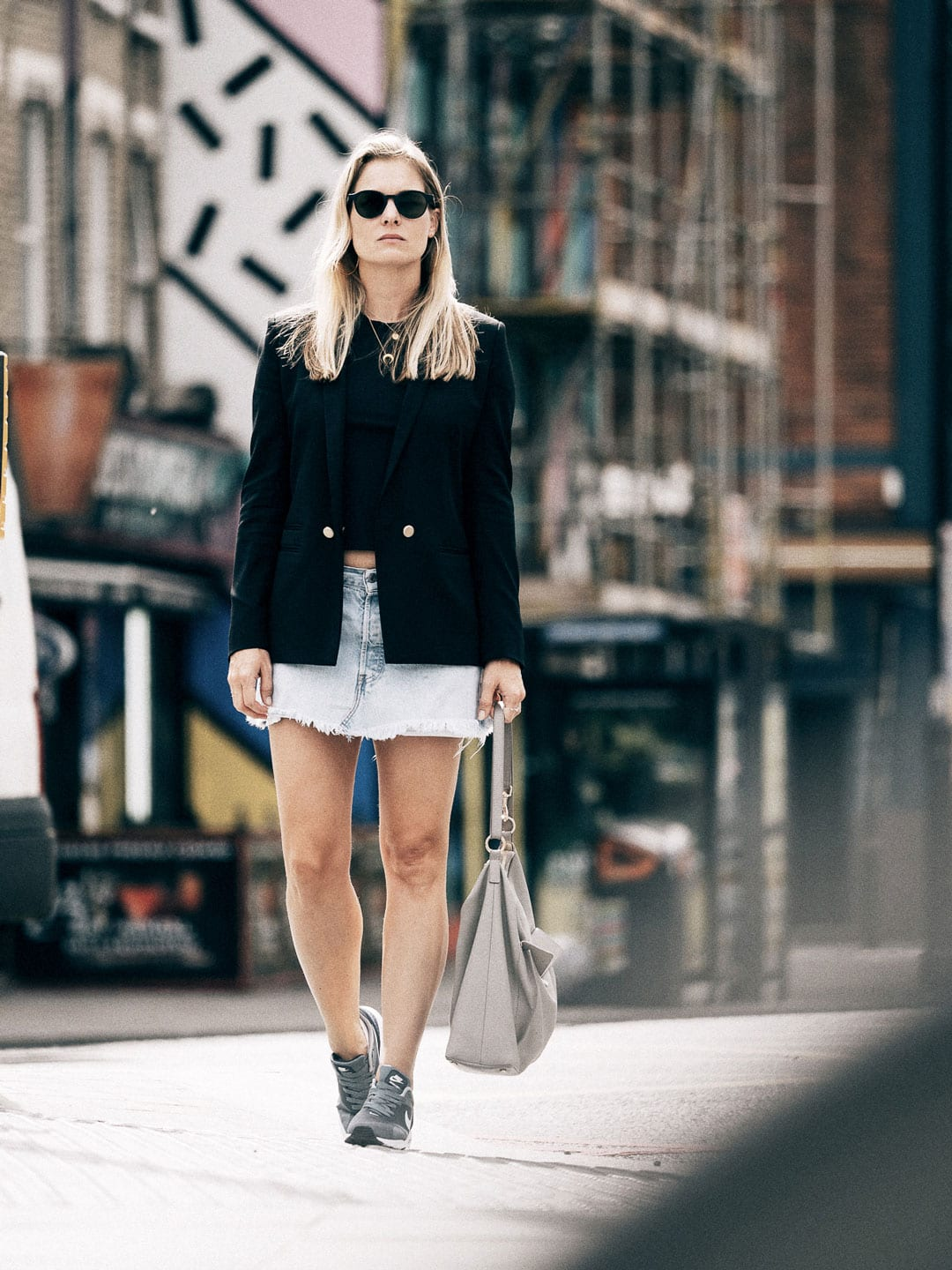 Piece NYC Black Top, Levi's Denim Skirt, The Kooples Black Blazer, Nike Tevas Trainers