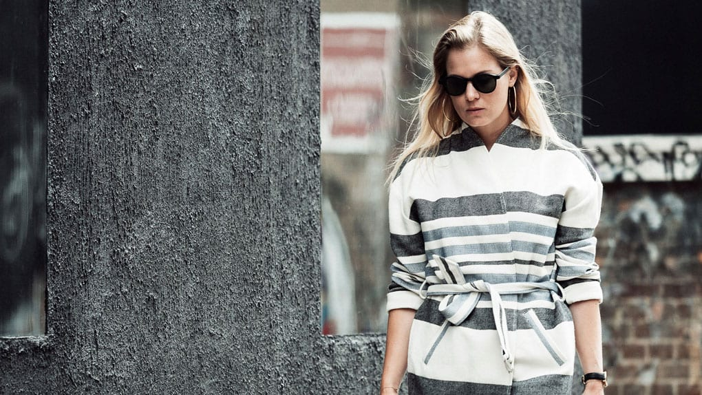 Custommade Stripe Coat, Paige Verdugo Jeans, Samsoe & Samsoe Silk Shirt, Nike Tavas Trainers