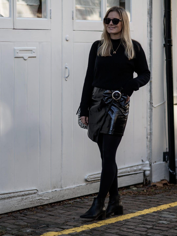 All Black   AV Black Sweater, Mango Patent Skirt, Seven Boot Lane Black Ankle Boots, Baia Leopard Print Bucket Bag