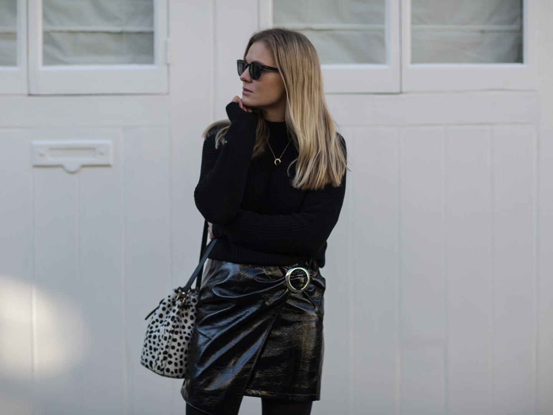 All Black | AV Black Sweater, Mango Patent Skirt, Seven Boot Lane Black Ankle Boots, Baia Leopard Print Bucket Bag
