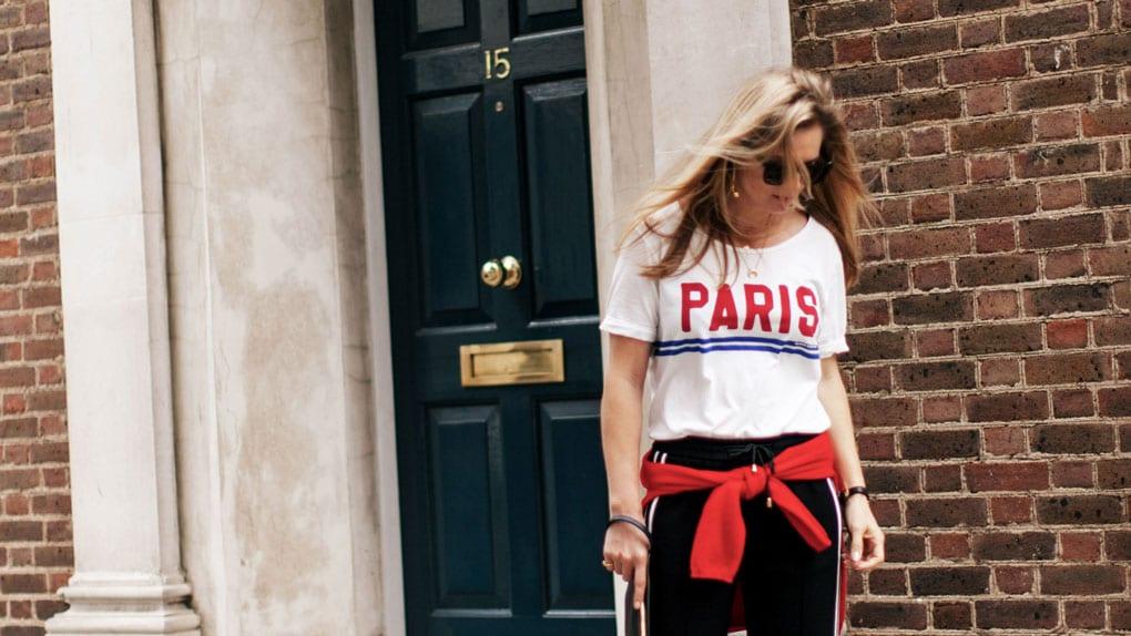 Style&Minimalism | It's Personal | ME+EM Stripe Track Pant, Maison Scotch Paris T-shirt, Chinti & Parker Good Girl Bad Girl Sweater