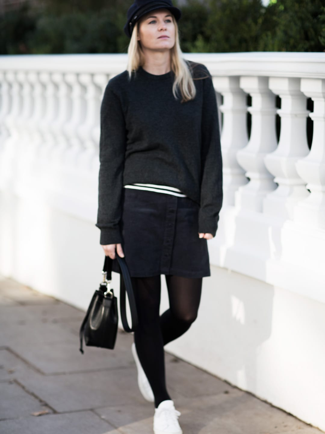 Borrowed From The Boys | COS Grey Sweater, Side Party Corduroy Skirt & Common Projects