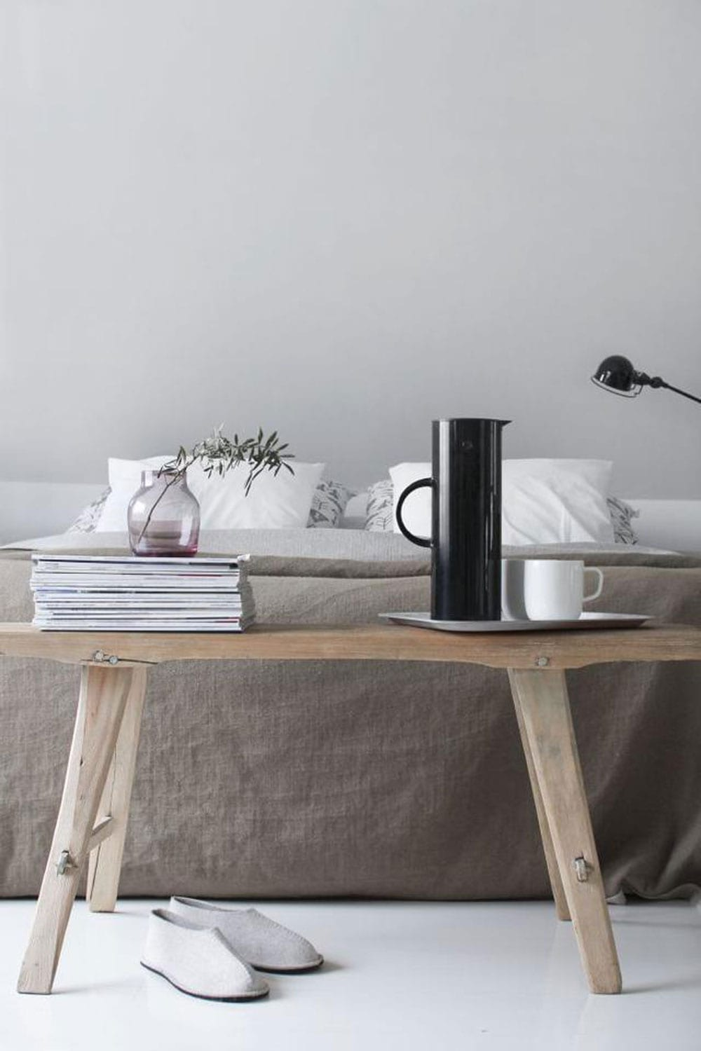 Calming Minimalist Bedroom Inspiration Moodboard