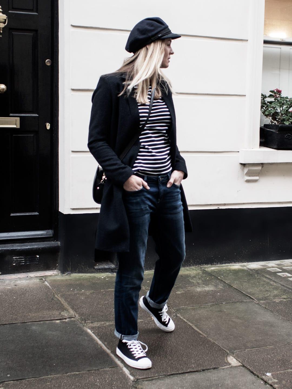 Navy boyfriend coat, Breton t-shirt, boyfriend jeans, Converse Chuck Talyors, A.P.C. Demi-Lune & Mariner's cap
