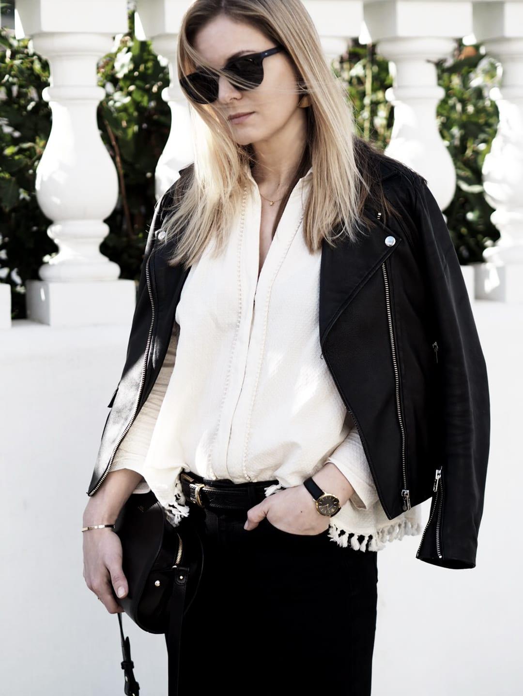 Kirei Madina Shirt, The Finery Flora Fan Peel Earrings, Sandro Veinarde Leather Biker, Joe's Jeans The Vixen Skinny Black Jeans