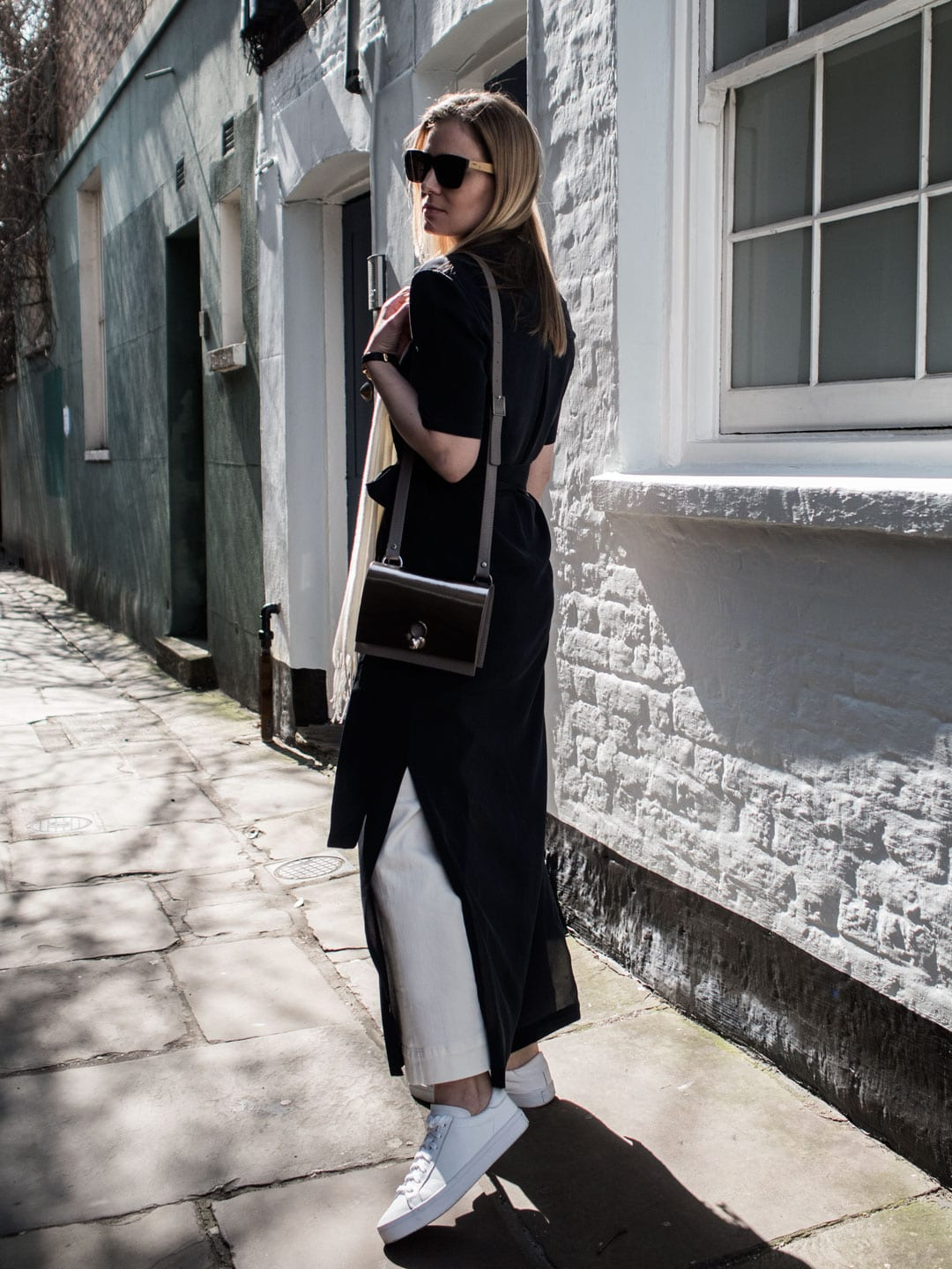 Dresses Over Jeans | Marina London Dree Silk Dress, ME+EM Wide Leg Jeans, Danielle Foster Charlie Bag in Mirror