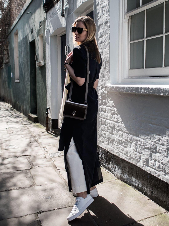 Dresses Over Jeans | Marina London Dree Silk Dress, ME+EM Wide Leg Jeans, Danielle Foster Charlie Bag in Mirror