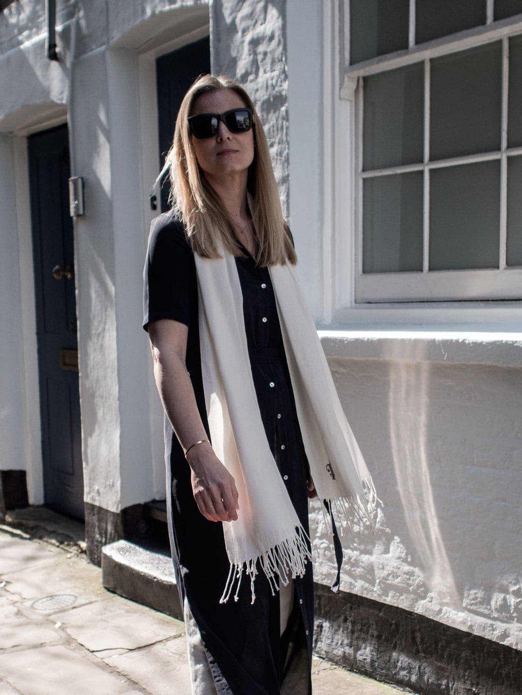 Dresses Over Jeans   Marina London Dree Silk Dress, ME+EM Wide Leg Jeans, Danielle Foster Charlie Bag in Mirror