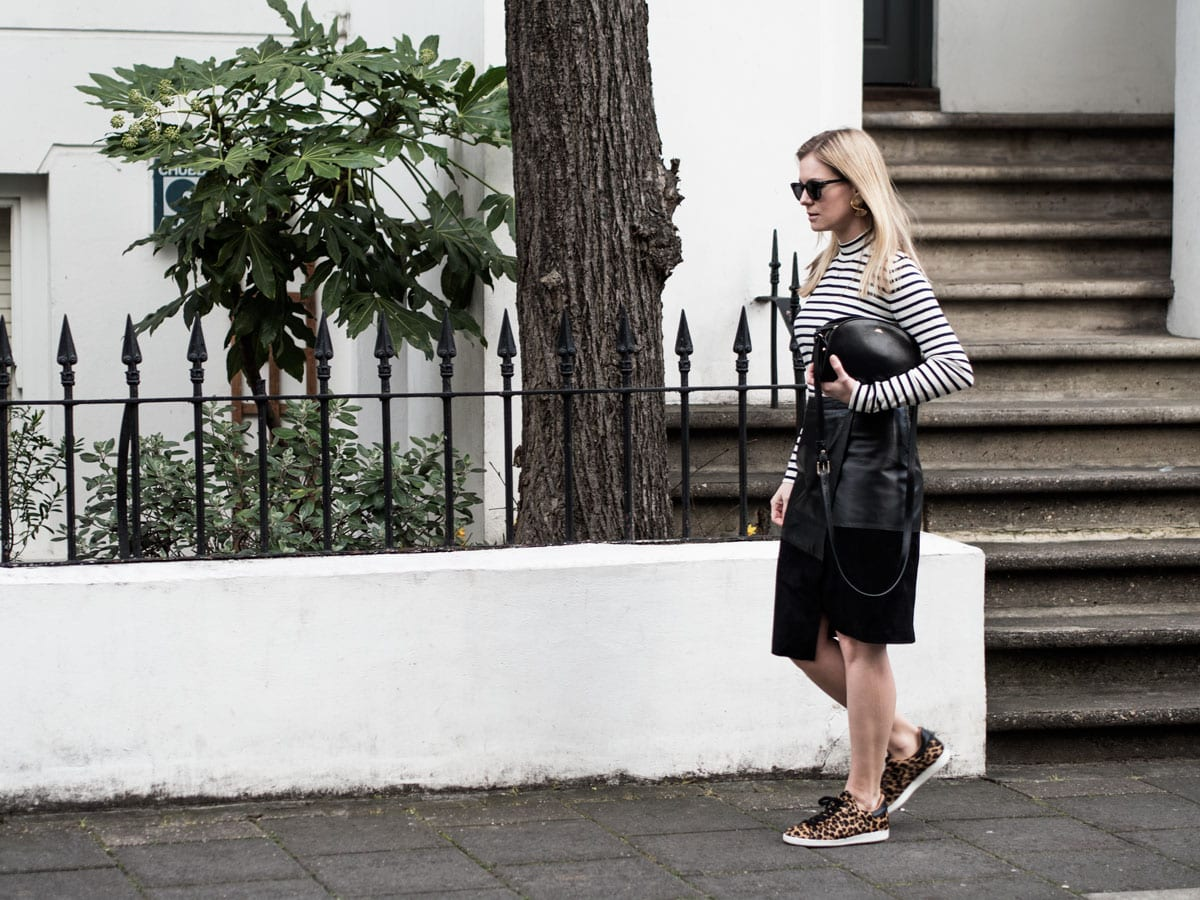 Samsøe & Samsøe Sanella Sweater, ME+EM Leather Wrap Skirt, Air & Grace Leopard Print Trainers & A.P.C. Bag