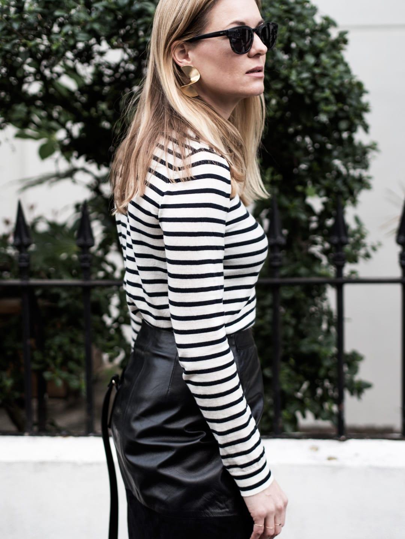 Spring In Stripes   Samsøe & Samsøe Sanella Stripe Sweater, ME+EM Leather Wrap Skirt, Air & Grace Leopard Print Trainers & A.P.C. Bag