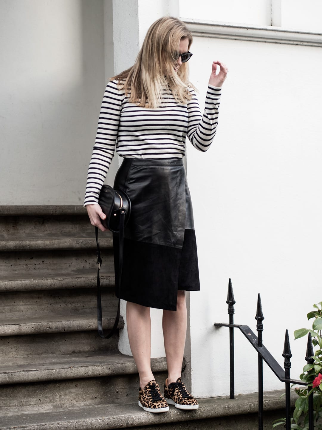 Spring In Stripes | Samsøe & Samsøe Sanella Stripe Sweater, ME+EM Leather Wrap Skirt, Air & Grace Leopard Print Trainers & A.P.C. Bag