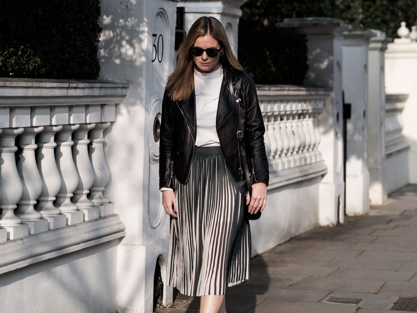 Second Female White Blouse, Samsoe Pleated Skirt, Sandro Biker, Common Projects & APC Demi-Lune