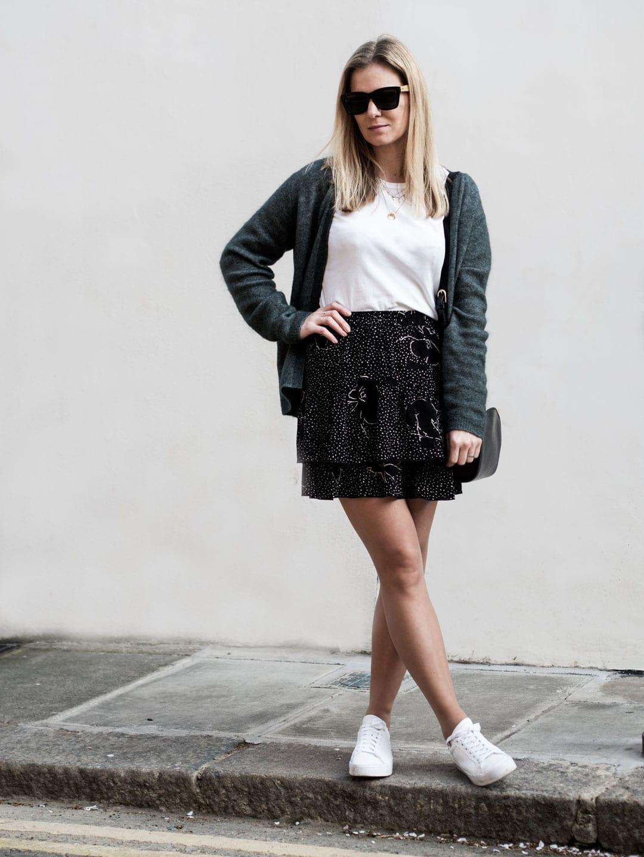Second Female Cardigan & Skirt, The White T-Shirt Co. Organic Cotton T-shirt & Adidas Vantage Court Trainers