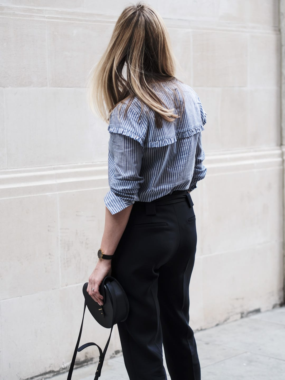 The Frill of It | Second Female Blue Frilled Blouse, Topshop MA-1 Navy Bomber Jacket, ME+EM Navy Trousers, Converse Chuck Taylors & PB 0110 Shoulder Bag