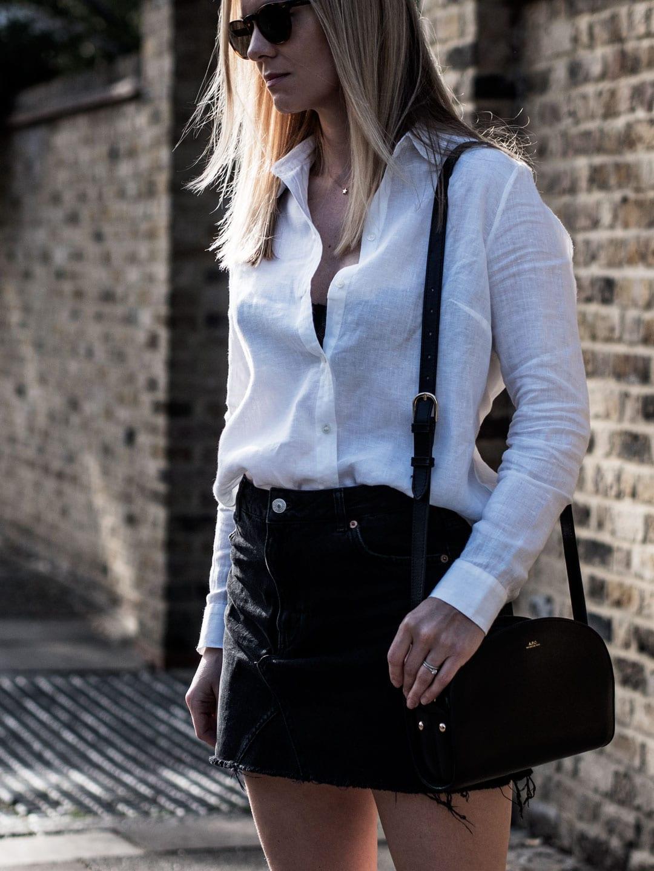 Feeling Fresh In Linen   The White Company Linen Shirt, Topshop Black Denim Mini Skirt, A. Andreassen Elskling Mules & A.P.C. Demi-Lune Bag