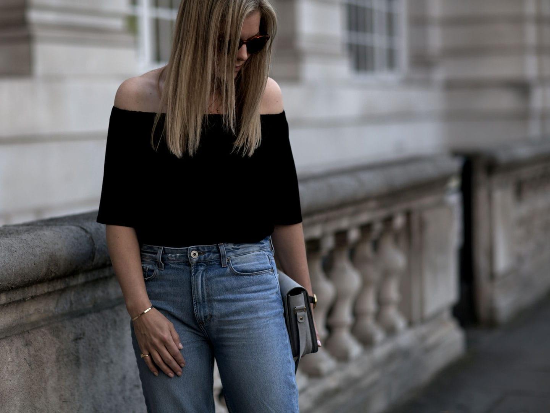 Baukjen Medina Off-The-Shoulder Top, Paige Jeans, The White Company Leather Sandals & Baia Grey Suede Shoulder Bag