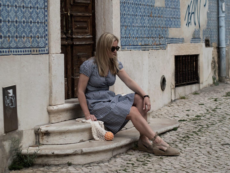 Justine Tabak Gingham Wrap Dress, Penelope Chilvers Espadrilles & Labour & Wait String Bag