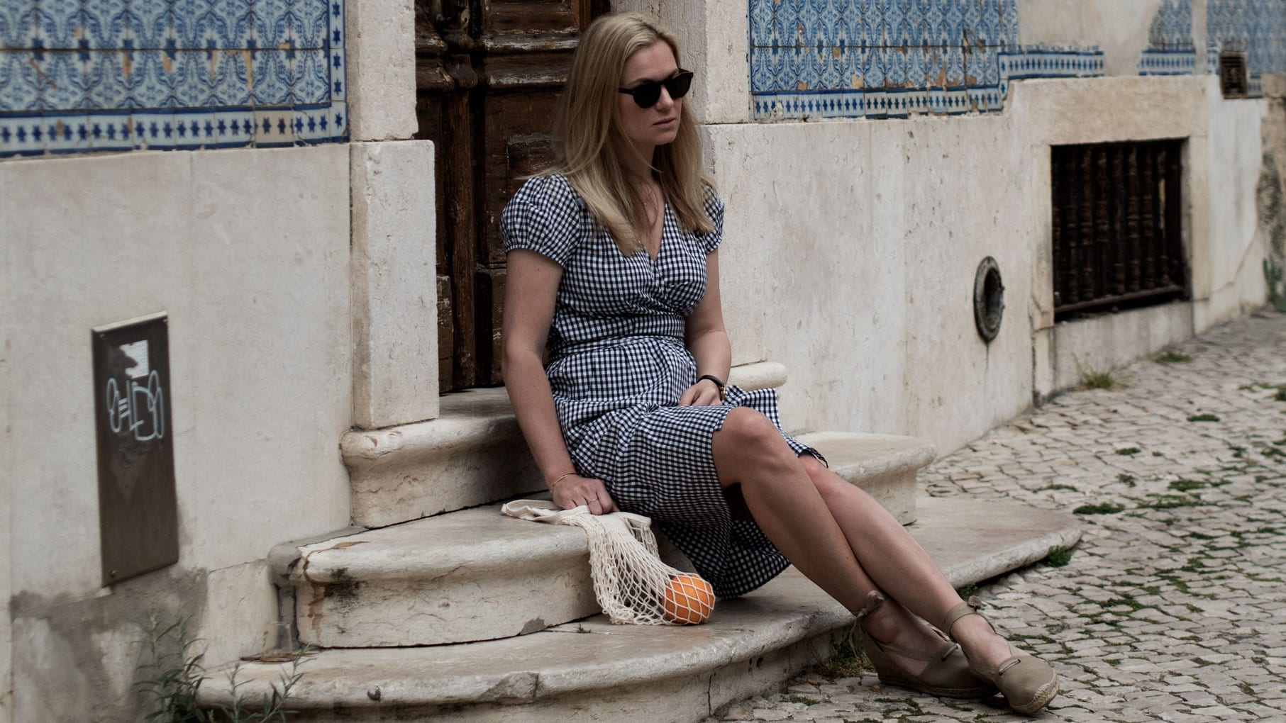 Justine Tabak Gingham Wrap Dress, Penelope Chilvers Espadrilles & Labour & Wait String Bag