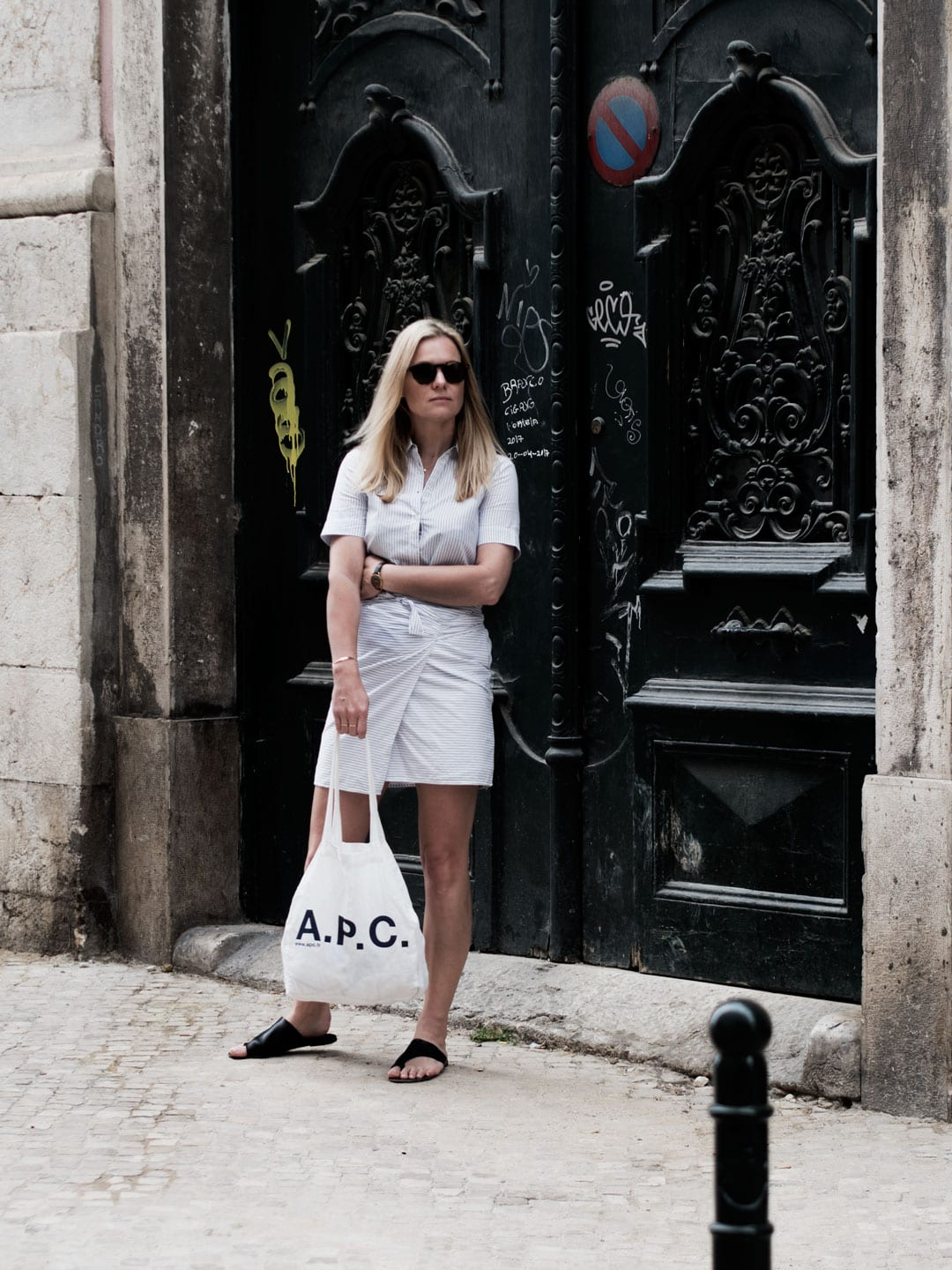 French Girl Style | Rouje Wrap Dress, ATP Sandals, APC Tote Bag & Kapten & Son Sunglasses