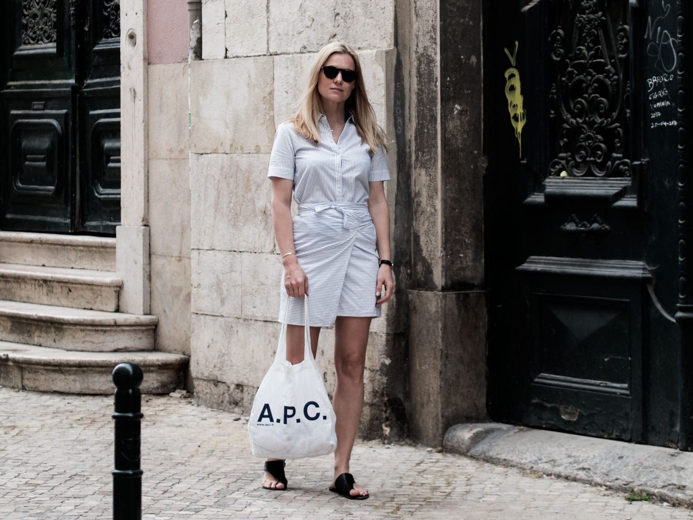Rouje Wrap Dress, ATP Sandals, APC Tote Bag & Kapten & Son Sunglasses