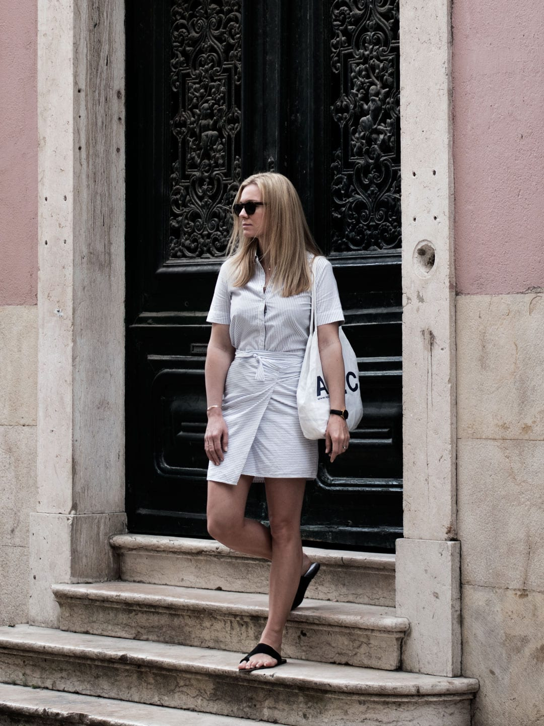 Rouje Wrap Dress, ATP Sandals, APC Tote Bag & Kapten & Son Sunglasses