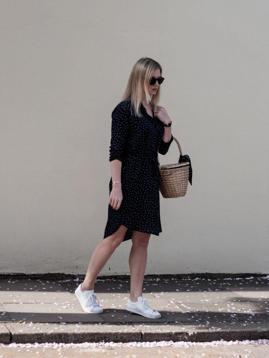 Second Female Mayson Shirt Dress, Kapten & Sons Sunglasses, Jane Birkin Basket Bag