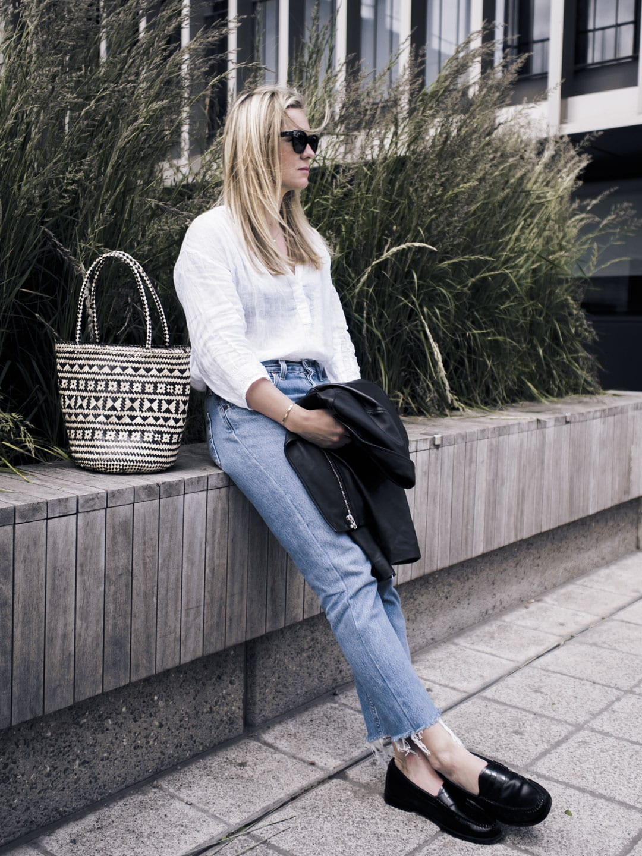Vikki wears The White Company Linen Blouse, Levi 501s, Bass Weejun loafers, Straw Bag & Sandro Biker jacket