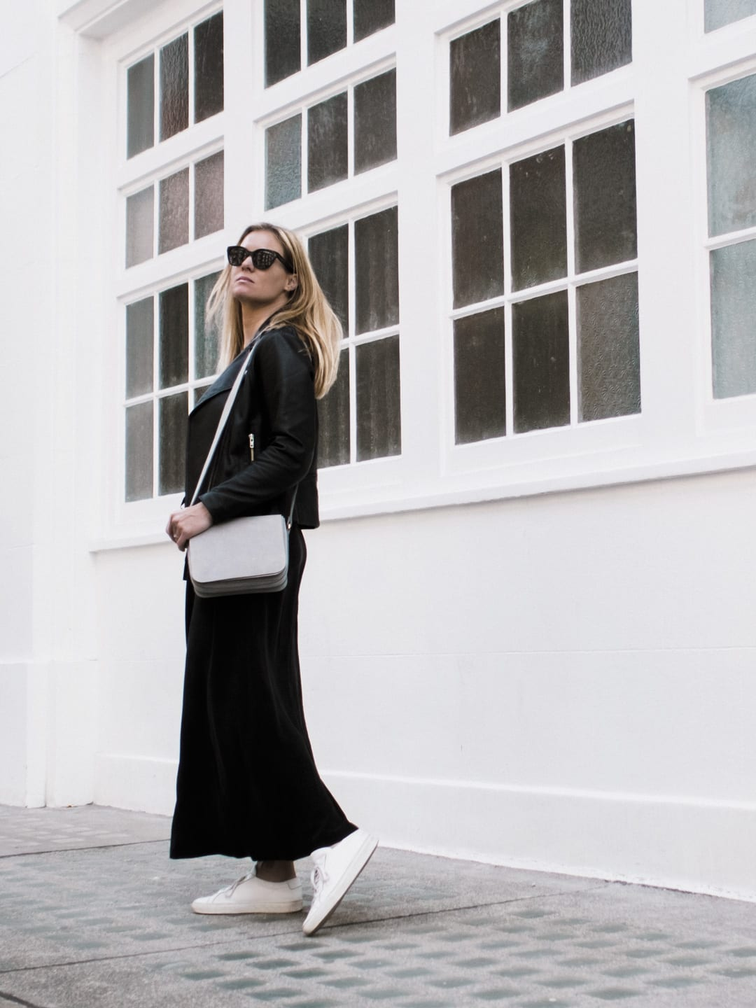 The White Company Black Silk Dress, Sandro Biker Jacket. Common Projects & Baia Trio Bag