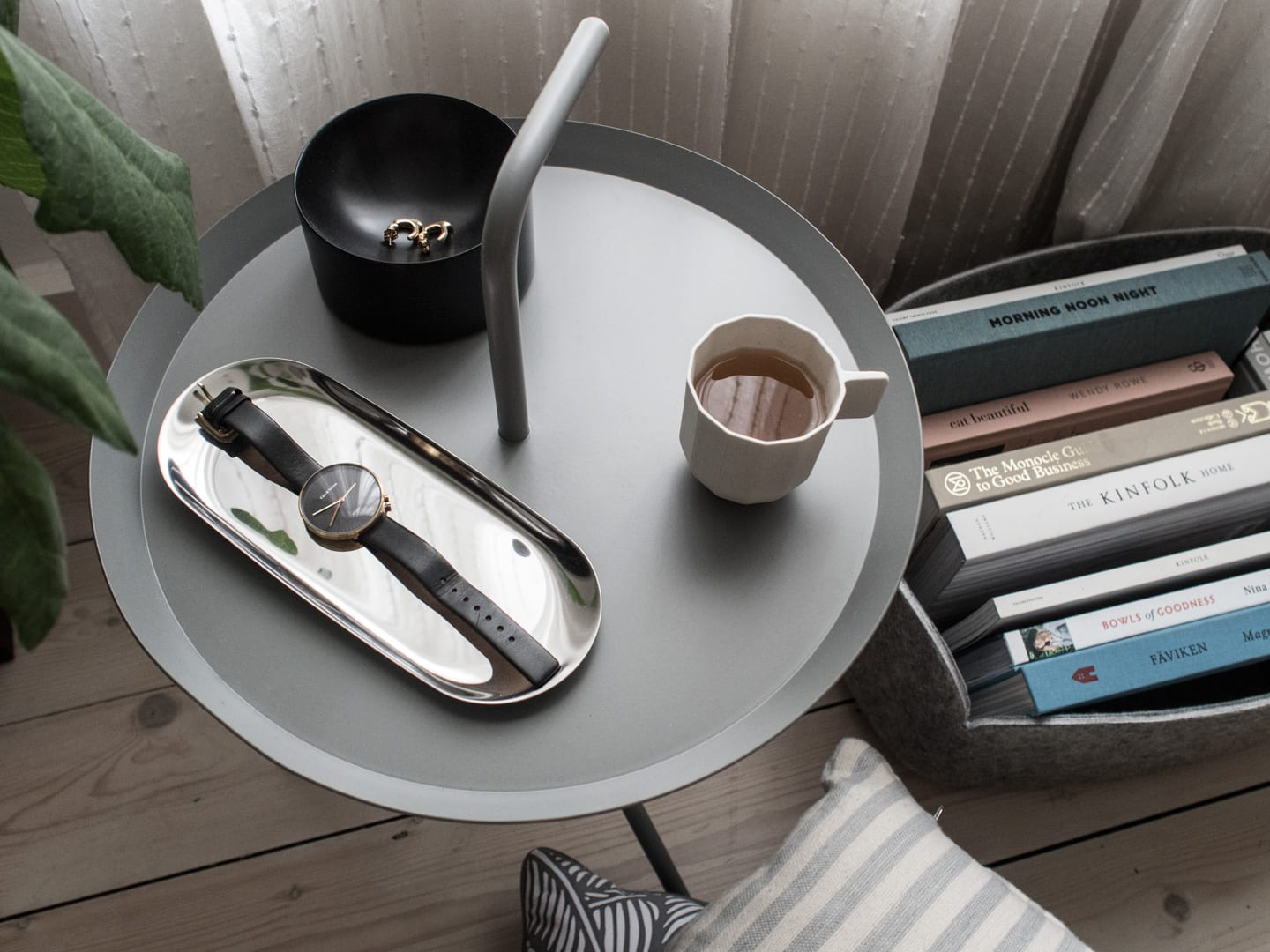 Hay DLM Side Table Grey, Normann Copenhagen Moon Tray Black, Hay Tray, Hay Paper Porcelain Coffee Cup | Minimalist Interiors Good For You